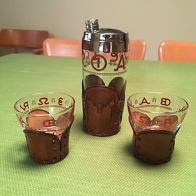 RARE Mini Cocktail Shaker 2 Glasses Western Cowboy Brand Leather Libbey/Bamco