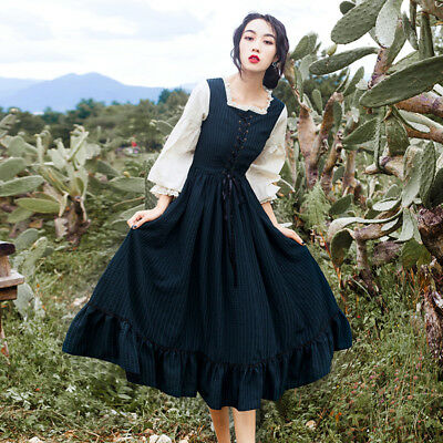 Fashion Women Long Sleeve Dress Princess Sweet Retro Party Prom Pleated skirt