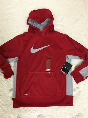 New With Tag BOYs Nike Thermal-Fit Hoodie red/grey Size Large