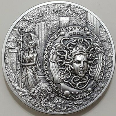 2018 COOK ISLAND $10 SHIELD OF ATHENA Aegis Mythology 2 Oz Silver Coins.
