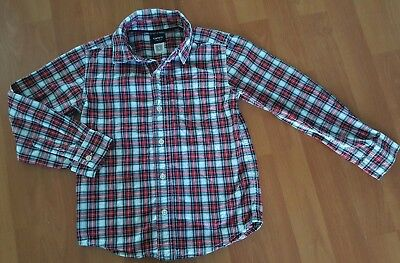 Carters Red White and Black Plaid Shirt Boys Button Down Holiday Christmas Sz 5