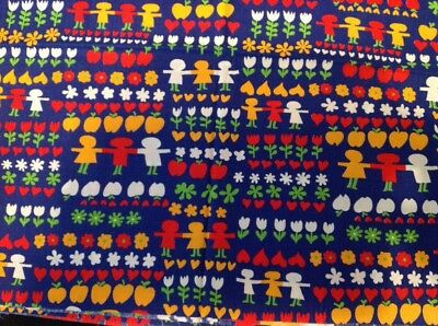 "Vintage cotton fabric, 44"" wide- 46"" long kids-hearts-flowers-bright colors"