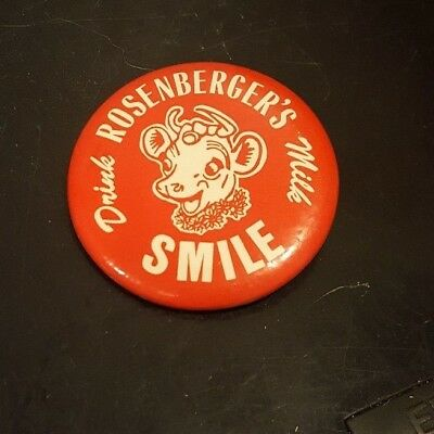 Vintage Rosenberger's Dairy Drink Milk Smile button  1 3/4 inches