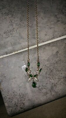 """Old Vintage gold plated necklace, 16.5"""".  / green and white stones. Gold plated"""