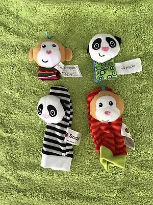 Sozzy Wrist Rattle Sock Rattle 4 Piece Set Monkey And Panda
