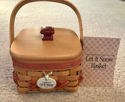 Longaberger 2000 Christmas Let it Snow Basket Woodcraft Lid Protector Tie On