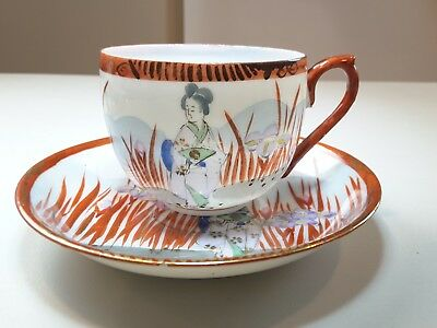 Antique Japanese Egg Shell Porcelain Geisha In Iris Cup And Saucer Gold Gilt