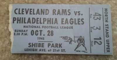 Cleveland Rams Philadelphia Eagles Ticket Shibe Park Oct 28 1945 NFL Champs RARE