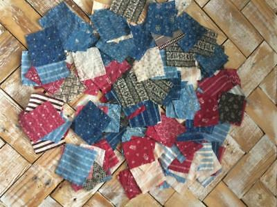 ~Back In Time Textiles~130 small pcs of Primitive fabric grt 4 quilt restoration
