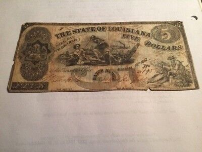Confederate State of Louisiana $5 note, October 10, 1862