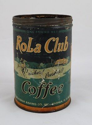 Rare Vintage Rola Club 1 lb Coffee Tin - Nashua Baking Co. Nashua, NH