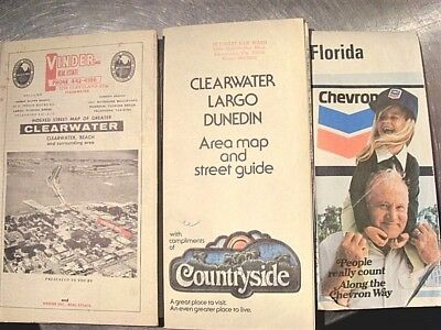 Clearwater Florida Map.3 Vintage Clearwater Florida Maps Florida State Map Early 1970s