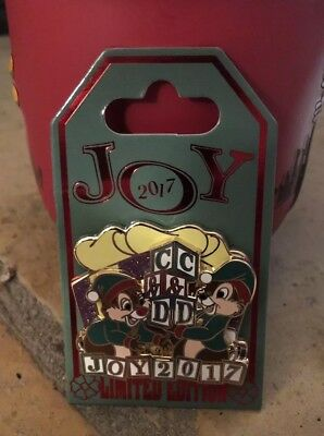 Disney Parks Christmas Joy 2017 Chip & Dale Pin Limited Edition 5000