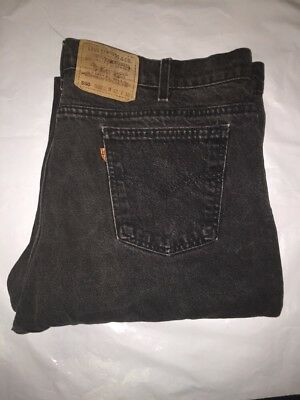 VTG Levis 505 Black Wash Jeans Relaxed Fit size 42x30 USA Orange Tab