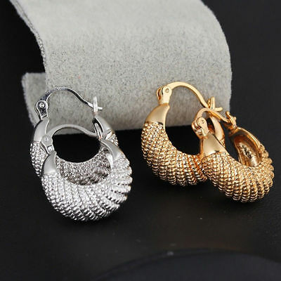 Golden Silver Plated Large Hoop Round Circle Earrings Women Jewelry Gift Cheap