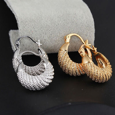 Women Golden Silver Plated Large Hoop Round Circle Earrings Jewelry Gift Cheap