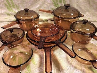 14 pcs AMBER VISIONS Corning Cookware Skillets/Saucepans LIDS FREE SHIPPING!!