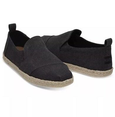 7b61f4438c04 NIB Men s Toms Deconstructed Alpargata Rope Black Washed Canvas Shoes.  Size  12