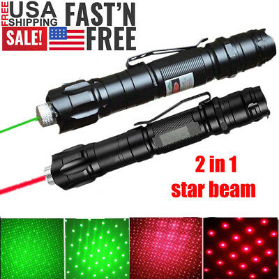 2PCS 50 Miles Star Light Astronomy Green+Red Laser Pointer Pen Waterproof Lazer