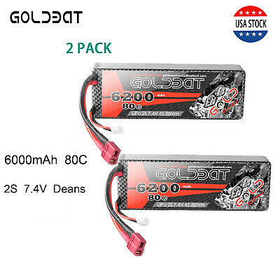 2X 80C 2S 6200mAh 7.4V RC Lipo Battery Pack Deans Plug For Car Truck Buggy Boat