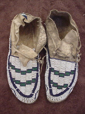 1900's Pair Of Sioux Beaded Moccasins Sinew Sewn