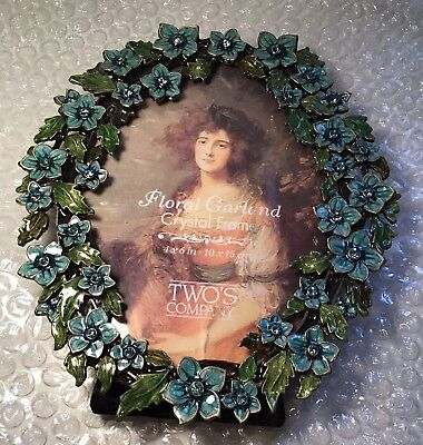 Two's Company Floral Garland Austrian Crystal Turquoise Oval Picture Photo Frame