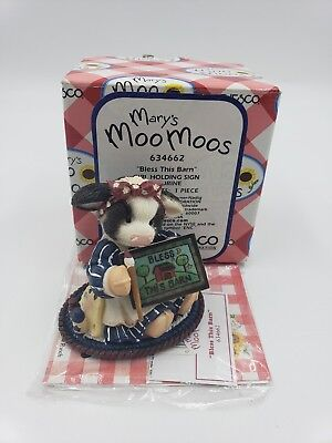 "Enesco Mary's Moo Moos figurine #63462 ""Bless This Barn"" 1999, NIB"