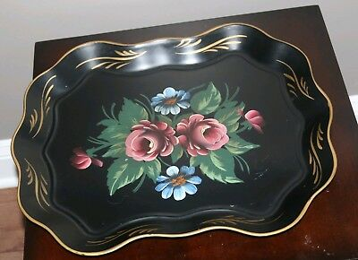 "NASHCO products hand painted floral black tray 17x14"" vintage toleware"