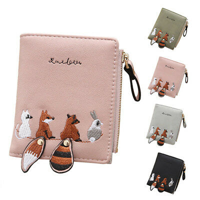 Women Fox Print Coin Purse Wallet Small Card Holder Key Bag Money Bag Pouch AU