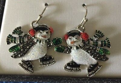 PENGUINS! NEW silver tone painted wintery earrings