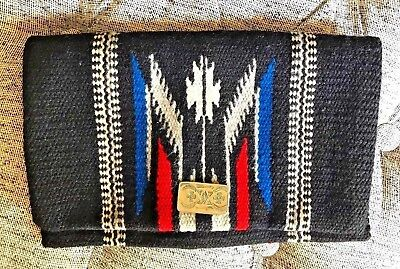 Vintage Native American Chimayo Wool Purse Hand Tailored Unique Clasp Design