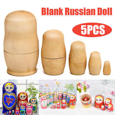 5Pcs 70g Blank Unpainted Special DIY Gift Make Your Own Russian Nesting Dolls