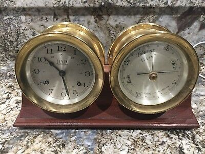 Vintage Elgin Clock and Barometer Brass Ship Nautical Style w Walnut Base