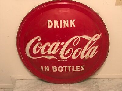 "Large Vintage 1957 Coca Cola Soda Pop Gas Station 36"" Button Sign Flat Edge"