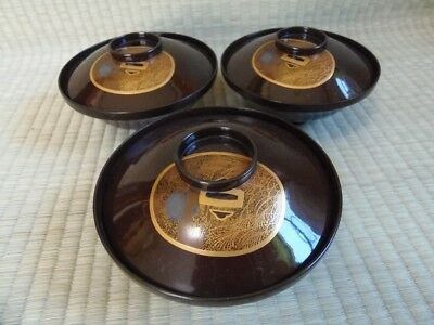 Soup Bowl Cup / Lot of 3 / Lacquerware / Wooden / Brown / Japanese Vintage / 34e