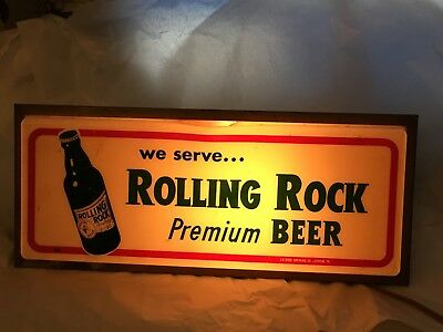 Vintage Rolling Rock Premium Light Up Beer Sign  WORKS!