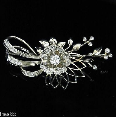 Vintage Diamond Brooch 14k White Gold Old European Cut Retro Estate Pin 1950s