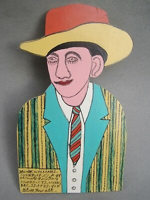 Howard Finster Cutout Painting Hank Williams 1993 Folk Art Outsider Artist