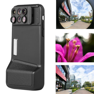 For iPhone Case Cover 6in1 Fisheye Wide-angle Telephoto Macro Bluetooth Lens Kit