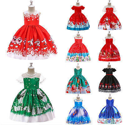 Christmas Kids Girls Pleated Dress Ball Gown Princess Party Santa Claus Dresses