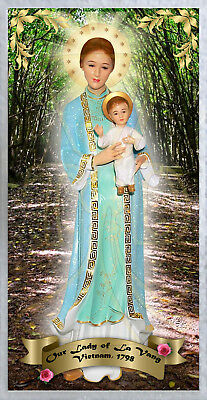 Our Lady of La Vang Vietnam laminated Holy Prayer card. Mary Statue Apparitions