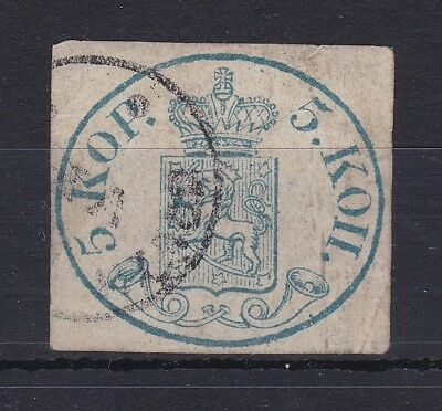 ROW107) Finland 1856 5k Blue, SG1 cds used. Attractive 4 margin used example