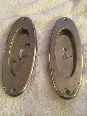Vintage Heavy Cast Brass Yale & Towne (Y&T) Pocket Door Pulls, Chrome Finish