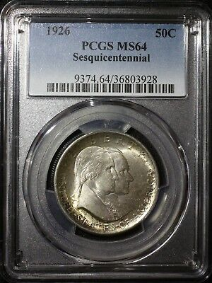 1926 P Sesquicentennial Commemorative Half Dollar PCGS MS64 Lustrous Well Struck