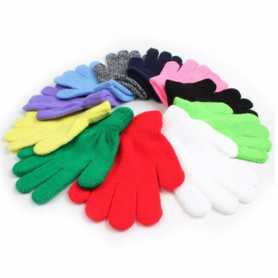 Kids Solid Full Finger Glove Winter Warm Baby Gloves Knitted Stretch Mittens