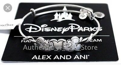 ALEX AND ANI Disney Mickey & Minnie Mouse Kissing Heart BRACELET Silver New Tags