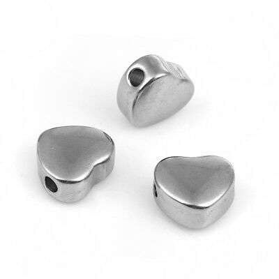 Stainless Steel Spacer Beads Heart / Star for Jewelry Making Silver Tone 5 PCs