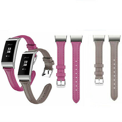 Quick-Release Genuine Leather Replacement Wrist Band Strap for Fitbit Charge 3