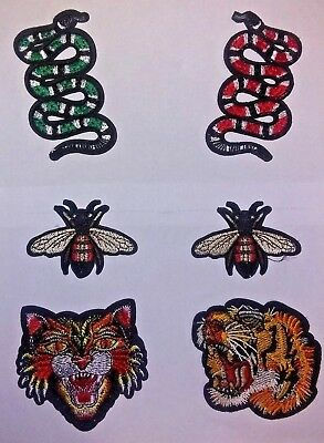 35eb12676cf Small Tiger Bee Snake Patches gucci style IRON ON Set -6 Patches! USA  Shipping