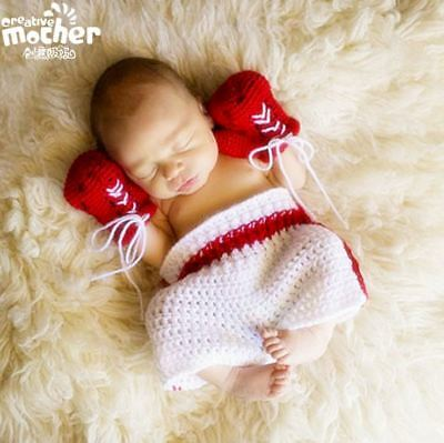 Newborn Baby Crochet Boxing Outfit Baby Boxing Gloves Shorts Set Photo Props